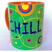 Tasse mit Spruch: CHILL NOW - WORK LATER, Kaffeebecher, Geschenkidee Freund, Geschenkidee Freundin, Gute-Laune-Tasse, Geschenke unter 20 Euro, last-minute-geschenk