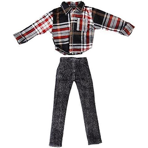 Set Camisa + Pantalones Ropa Casual De Muñeca Barbie Ken Doll Check Shirt Pants