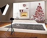 YongFoto 3x2m Foto Hintergrund Weihnachten Vinyl Weihnachtsdekoration Kamin Girlande Baumschmuck Geschenke Strümpfe Innenraum Fotografie Hintergrund Foto Leinwand Kinder Fotostudio 10ft