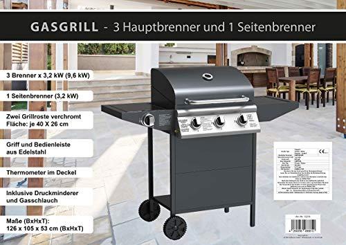ACTIVA Grill Gasgrill 3 Brenner 9,6 kW + Seitenbrenner 3,2 kW, Grillwagen