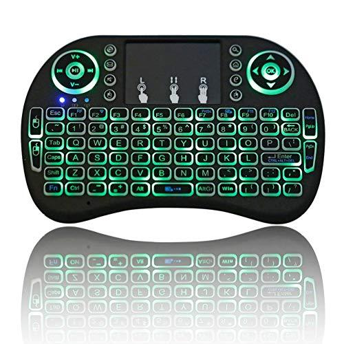 YDM Retroiluminación Mini teclado inalámbrico 2,4 GHz Con teclado táctil ratón para Raspberry Pi 3 RPI 2 Mini ordenador Smart TV Android TV Box