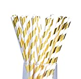LAAT Farbige Gestreifte Strohhalme Spaß Papier Trinkhalm Geburtstagsfeier Gestreifte Dekorative Strohhalme für Geburtstag Hochzeit Satz von 25 Gold