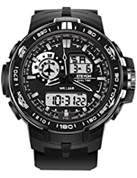 ETEVON Männer 'Air Force' Big Face Sport Uhr Dual Time Zone Wasserdichte LED Hintergrundbeleuchtung, Mode Analog Digital Outdoor Military Uhren für Männer - Schwarz