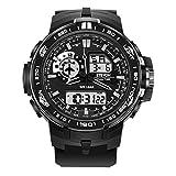 ETEVON Herren 'Luftwaffe' Outdoor Sport Uhren mit Schwarzem Silikonband und Großem Display, Wasserdicht LED Licht Analog Digital Armbanduhr