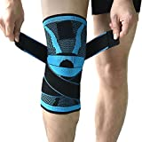 Knee Support Brace,Compression Knee Sleeve with Non-slip Adjustable Pressure Strap,Knee Protector for Running,Sports,Joint Patella Pain Relief,Arthritis and Injury Recovery- Single