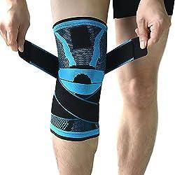Kniebandage, Kompressions-Kniehülse mit rutschfestem, verstellbarem Druckgurt, Knieschützer für Laufen, Sport, Gelenkbeschwerden, Gelenkentzündungen