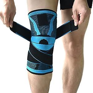 Kompressions-Kniebandage mit rutschfestem, einstellbarem Druck-Riemen, Knieschutz fürs Laufen, für den Sport, zur Schmerzlinderung von Knies