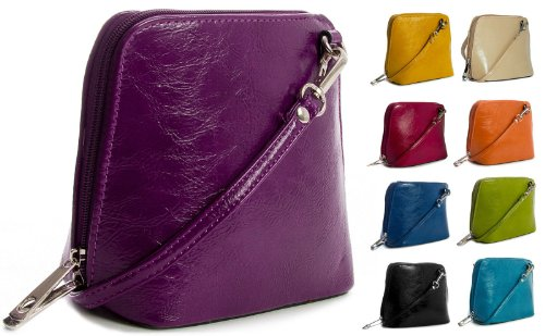 Big Handbag Shop mini Damen Umhängetasche Cross Bag aus Kunstleder Lilac