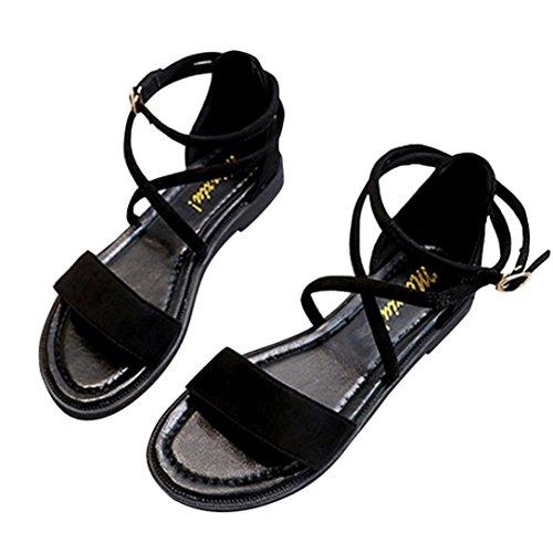 Sandales, Malloom Femmes Sandales Plates Traverser Ceintures En Cuir Chaussures à Talons Hauts à Talons Ouverts Noir