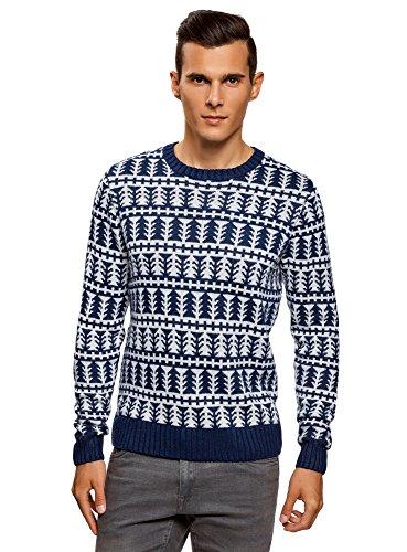 oodji Ultra Herren Weihnachtspullover Gemustert Blau (7912G)