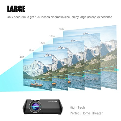 Vidéoprojecteur, BeamerKing Projecteur de Cinéma à Domicile Le Vidéoprojecteur LED Portable de 2200 Lumens Prend En Charge Le Format Full HD 1080P HDMI USB VGA AV for Laptop iPhone Andriod Smartphone PS4 Xbox TV Box