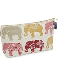 Blue Badge Company acolchadas de algodón artículos de tocador Case bolsa de lavado con forro impermeable, de la India elefante impresión