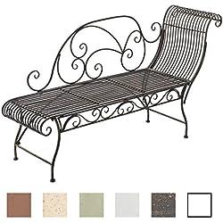 CLP Banc de Jardin Karma en Fer Forgé - Banc avec Récamière - Banquette de Jardin Style Romantique - Chaise Longue de Jardin en Fer - Couleur: Bronze