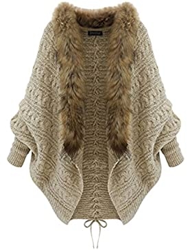 Cardigan Chaqueta Con Capucha De Mujer Cárdigan Suelto De Talla Grande Suéter Abrigo Cuello De Faux Piel Outwear