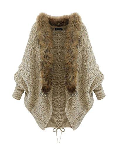 Femme Manches Longues Tricoté Cardigan Ouvert Fausse Fourrure Manteau Veste Chandails Outwear Tops Comme Image