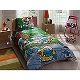 Die Schlümpfe im Piknik Einzelbett Bettwäsche Bettdeckenbezug(160x220cm), Bettwäsche 100% Baumwolle mit Bettbezug, Spannbettlacke(100x200cm) und Kissenbezug(50x70cm) Für Jungs Made in der Türkei