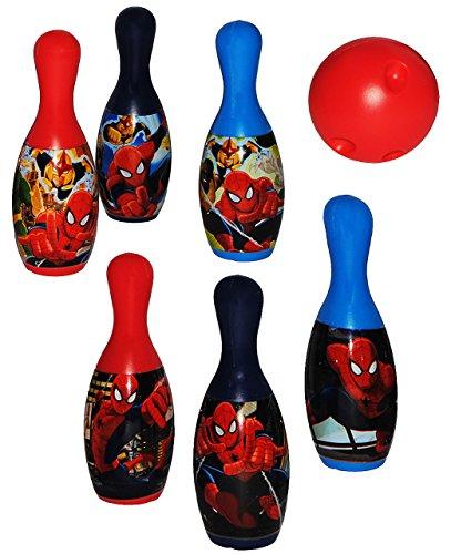 7 TLG. Set Kegelspiel / Bowling - Ultimate Spider-Man - aus Kunststoff / Plastik - für Außen + Innen - Bunte Farben Kegeln Kegel - für Kinder / Erwachsene..