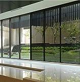 Lifetree Fenstertönung für Haus Sonnenschutzfolie Wärmegrad Kontrolle Ohne Kleber Spiegelfolie Fensterfolie Büro Privatsphäre Glas Fensteraufkleber Glatt Glas 60*200cm Schwarz