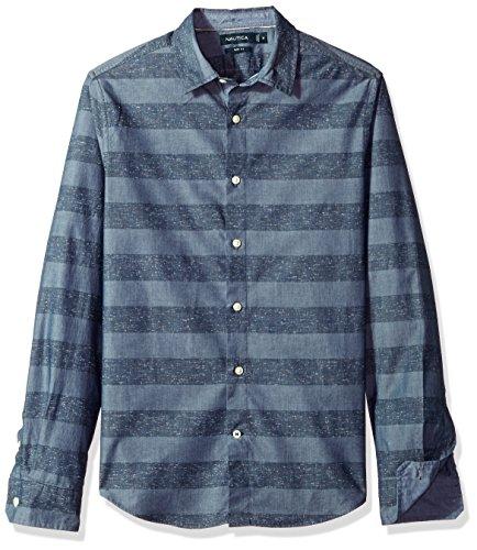 Nautica Unisex-Erwachsene W73329 Lang - Regulär Button Down Hemd - Blau - Groß - Nautica Herren Hemd