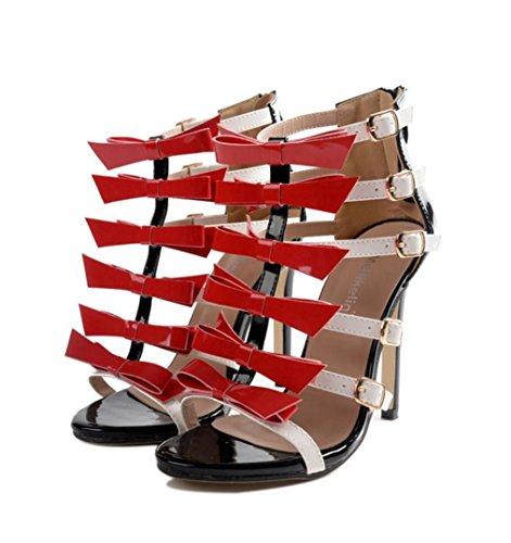 WZG Die neuen römischen Schuhe ein dünner Streifen von Mischfarben Sandalen Miss Gao Genxie Red