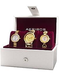 Akribos XXIV Reloj de cuarzo para mujer con oro esfera analógica pantalla y pulsera de aleación de oro ak907yg