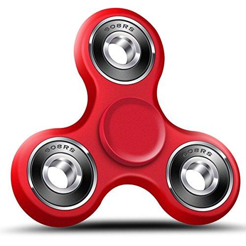 Preisvergleich Produktbild Roreikes Fidget Spinner , Tri-Spinner Fidget Toys Finger Spinner Spielzeug mit und glatte Rotation , ideal Geschenke für ADS, ADHS, Angst und Autismus Kinder und Erwachsene (Rot)
