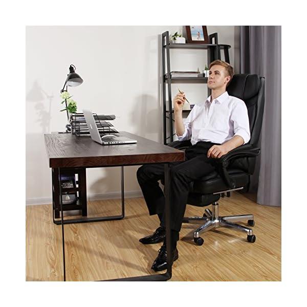 SONGMICS Silla de Oficina Silla giratoria Silla Gaming con Reposacabezas y reposapies Tamaño supergrande Diseño ergonómico OBG75B