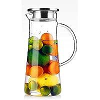 TAMUME 1,5 Liter Wasser Pitcher Obst Wasserkrug mit Edelstahl Deckel und Glas Teekanne mit Infuser