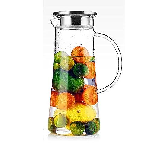 TAMUME 1,5 Litre Carafe a Eau Pichet à Eau Fruit avec Couvercle en Acier Inoxydable et Théière en Verre avec Infuseur (1500 Liter)