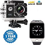 Drumstone Wi-Fi 4K Waterproof Sports Action Camera - 4K Ultra HD, 16MP,2 Inch LCD Display, HDMI Out, 170 Degree Wide Angle With DZ09 Bluetooth Smart Watch Phone With Camera And Sim Card Support Compatible With Xiaomi, Lenovo, Apple, Samsung, Sony, Oppo, G