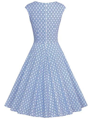 MUXXN Abbigliamento Donna Vestiti Matrimonio Anni 50 Vestiti da Cocktail Vestiti Blue Square