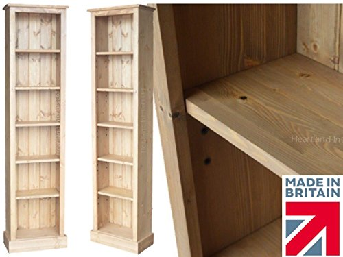 heartland-pine-solid-pine-bookcase-6ft-tall-slim-jim-adjustable-display-shelving-unit-bookshelves-no