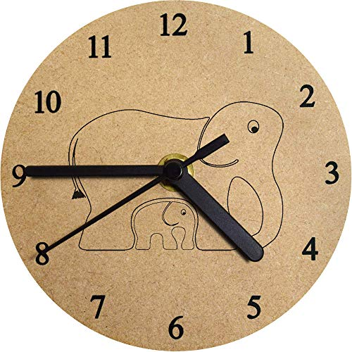 Azeeda 130mm 'Elefantes' Reloj de Pared pequeño MDF (CK00007133)
