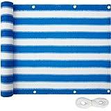 TecTake Balkon-Sichtschutz | Balkonbespannung | Witterungsbeständig und Wasserabweisend Größen (Blau-Weiß | 75x600 cm | no. 402880)