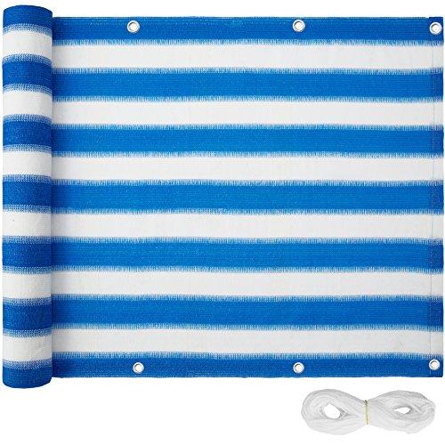 TecTake Balkon-Sichtschutz | Balkonbespannung | Witterungsbeständig und Wasserabweisend Größen (Blau-Weiß | 600x75 cm | no. 402880)