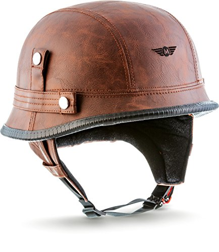 "MOTO  · D33 ""Leather Brown\"" (Brown)  · Jet-Helm Braincap Bobber Halbschalen  · Motorrad-Helm Scooter-Helm Chopper Mofa Roller Retro  · Click-n-SecureTM Clip  · Tragetasche  · L (59-60cm)"