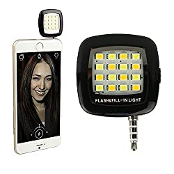 DMG Universal Portable Mini 16 LED Night Using Selfie Enhancing Dimmable Flash Cellphone Camera Flash Fill-in Light Pocket Spotlight Photo Speedlite Android Smartphone Tablets Camera iPhone