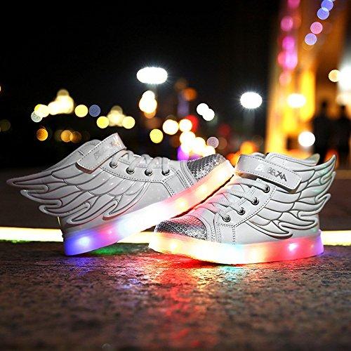 Led Sportschuhe Aufladen Wei Sneaker Turnschuhe f眉r Kinder Herren Farbwechsel Damen Damen Kinder LED DoGeek 7 USB Schuhe Farbe Leuchtend Uxvnpz