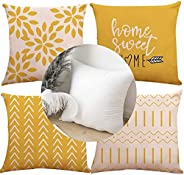 Throw Pillow Covers Set of 4 18x18 inch Cotton Linen Farmhouse Home Decor Square Geometric Abstract Accent Cov