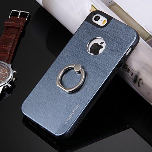 iPhone Case Cover Pour iPhone 5 & 5s & SE Texture brossée Metal + TPU Étui de protection avec support de support d'anneau ( Color : Silver ) Dark Blue