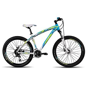 UT HT6 24 Speed Adult Cycle, 26-inches (White/Blue/Green)