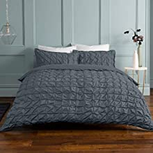 Sleepdown Rouched Pleats Easy Care Soft Duvet Cover Quilt Bedding Set with Pillowcase (Double Duvet Set, Charcoal Grey)