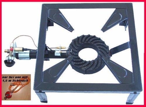 Gas-Hockerkocher Profi 10,5 KW Hockerkocher inkl. 1,5 m Schlauch und Regler