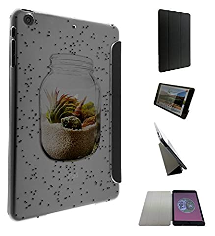 c0100 - Sand in a Jar Beach Design Apple ipad Mini 4 - 2015 Fashion Trend Smart Coque portefeuille Poche Flip Coque Flip Pouch Wallet Case Coque -Noir & Clear