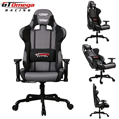 Gt Omega Pro Racing Office Chair Grey And Black Fabric
