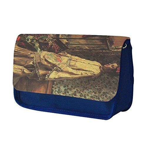 Preisvergleich Produktbild Renoir Portrait Of Rapha, Blau Schule Kinder Sublimation Hohe Qualität Polyester Schüleretui Federmäppchen mit Farbig Aufdruck. 21x13 cm.