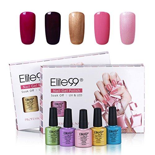 Elite99 Gel-Nagellack, Nagelgel, Soak-Off Gel, Schellack, UV-LED Nagelkit, Farbe C021, 5 Stück