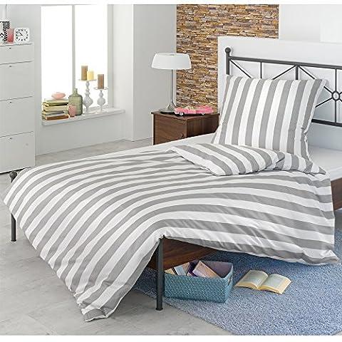 JEMIDI Bettwäsche Stern oder Streifen 135cm x 200cm Bettset Bettgarnitur Bett Wäsche (Streifen Grau)