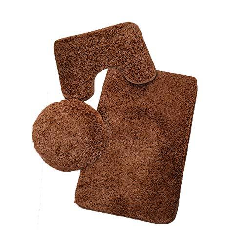 Rokoy set di tappetini da bagno in tre pezzi con tappetino da bagno, tappetino igienico antiscivolo, set tappetino tinta unita rimovibile e lavabile