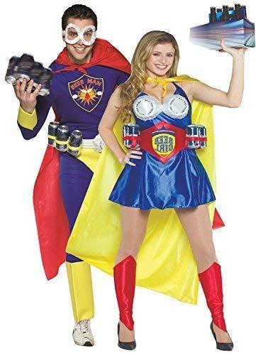 Paar Herren & Damen Ultimate Beer Hero Superheld Comedy Lustiger Comic Oktoberfest Kostüm Kleid Outfit (Comic Paar Kostüm)